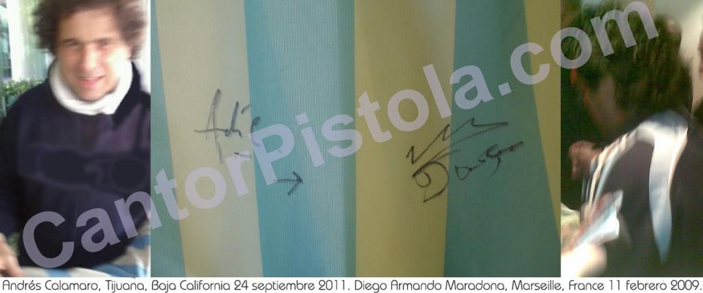 Camiseta de Argentina con autógrafos de Calamaro y Maradona