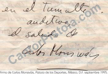Autógrafo del escritor Carlos Monsiváis, México, D.F. 1995 Palacio de los Deportes