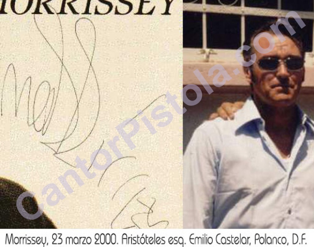 """Morrissey en Polanco, Distrito Federal (México) autógrafo single de """"Sing Your Life"""""""